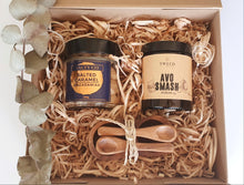 Load image into Gallery viewer, Gift box includes:  Avo Smash Dukkah Salted Caramel Macadamias Acacia wood condiment set