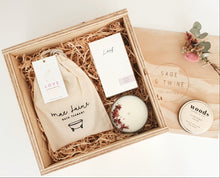Load image into Gallery viewer, This gift box is a perfect combination of handmade products for promoting self-care. Carefully put together for your loved one to remind them to take some time out and to stop and smell the roses.  A beautiful gift for that new mum, birthday, thinking of you, get well soon or for yourself.