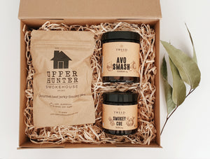 Gift box includes:  Upper Hunter Smoke House - Gourmet beef jerky-Smokey BBQ Tweed Real Food – Avo Smash Tweed Real Food -Smokey Cue Rub