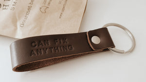 Dad, can fix anything on the run with this leather keyring with stainless steel screwdriver set.  Vantler Leather uses premium full grain leather, the toughest and sturdiest leather in the industry. The beauty of scars and marks may present in each item carry a unique personality.