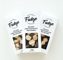 Load image into Gallery viewer, GOURMET FUDGE - BELGIAN DARK CHOCOLATE MACADAMIA