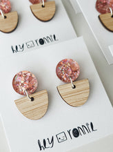 Load image into Gallery viewer, PINK GLITTER STATEMENT EARRINGS