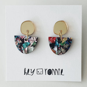 PARTY GOLD MIRROR STATEMENT EARRINGS