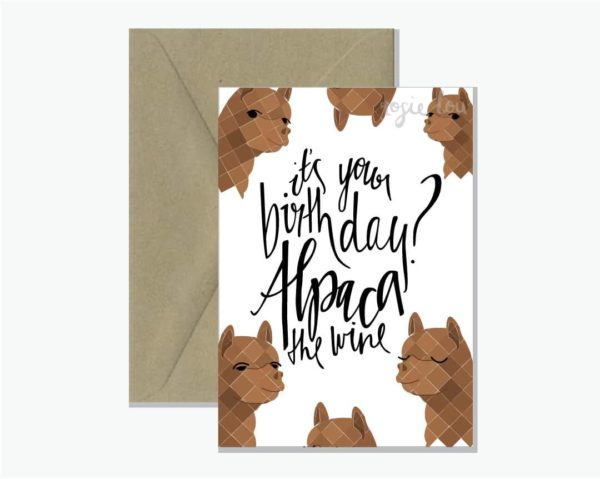 ALPACA THE WINE GREETING CARD