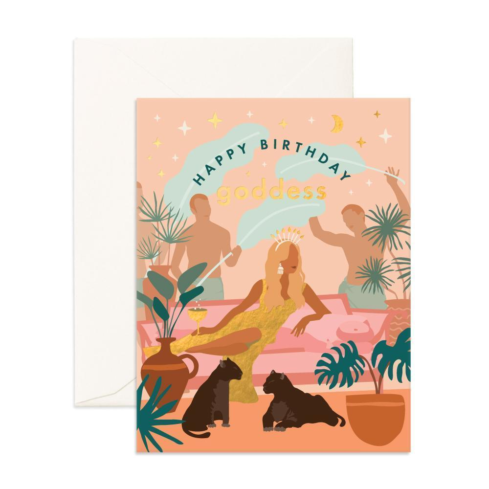 FOX & FALLOW  Happy Birthday you bright, beautiful Goddess!  Full-color + Foil Stamp.  Blank inside   Made in Australia.  Size - 108 x 140mm