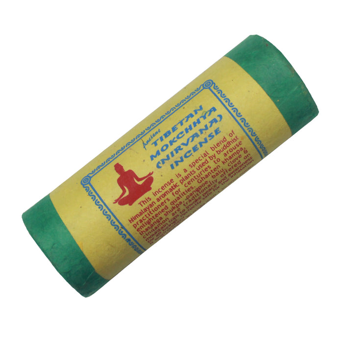 Ancient Tibetan Mokchhya (Nirvana) incense is a special blend of Himalayan aromatic plants used by Buddhist practicioners for centuries to arouse enlightened qualities.