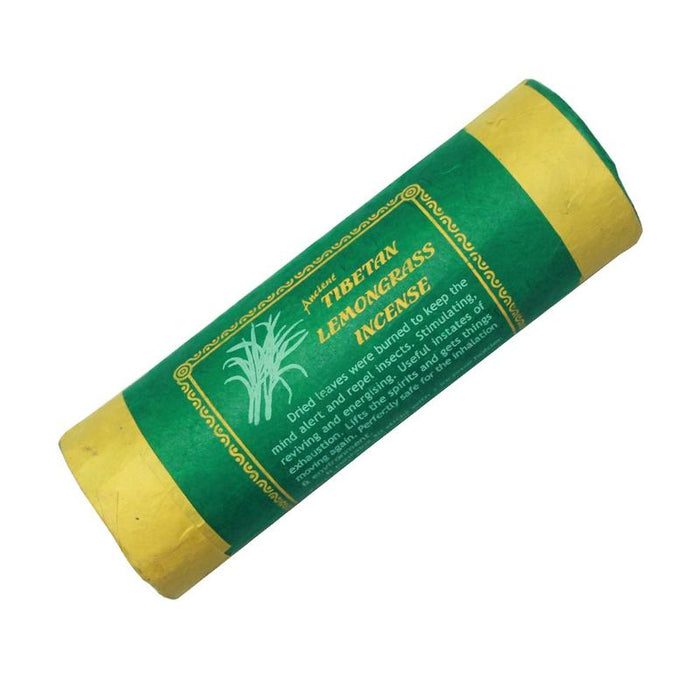 Tibetan Lemongrass Incense is described as being stimulating, reviving, and energizing. Lemongrass was traditionally used to keep the mind alert and burnt as an insect repellent.