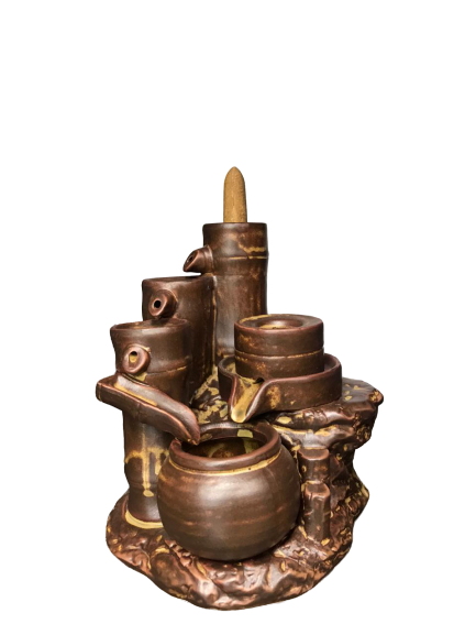 bamboo design back flow incense burner