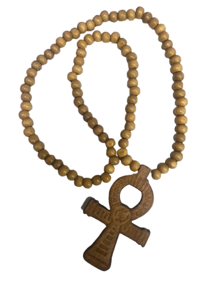 EGYPTIAN ANKH WOODEN NECKLANCE