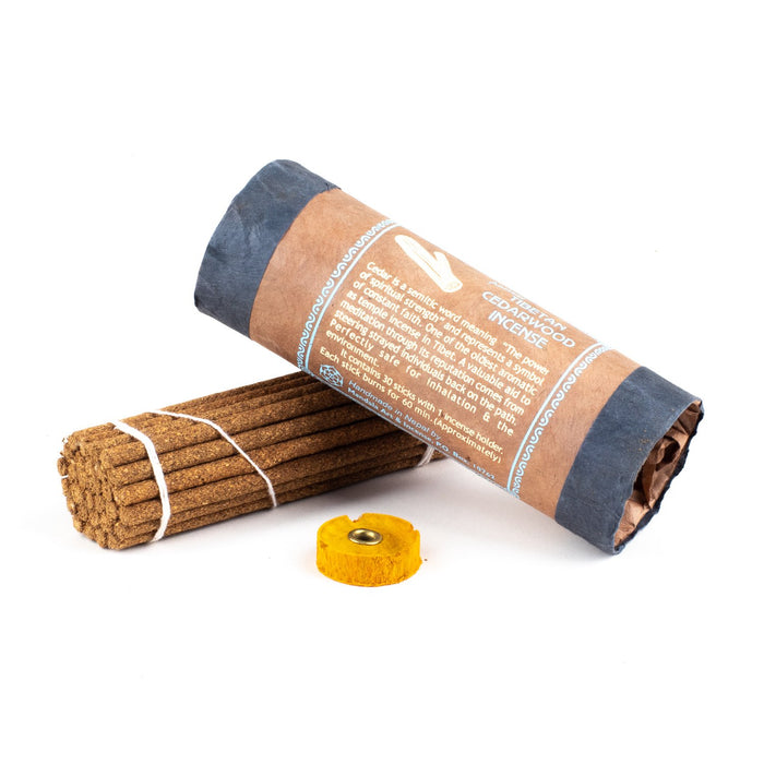 Tibetan Cedarwood is an excellent quality blend of natural cedar incense from Nepal. Cedar is described as similar to sandalwood but dryer, and is one of the oldest temple incenses used in Tibet. These natural incense sticks burn well, with the woody scent of cedar wood.