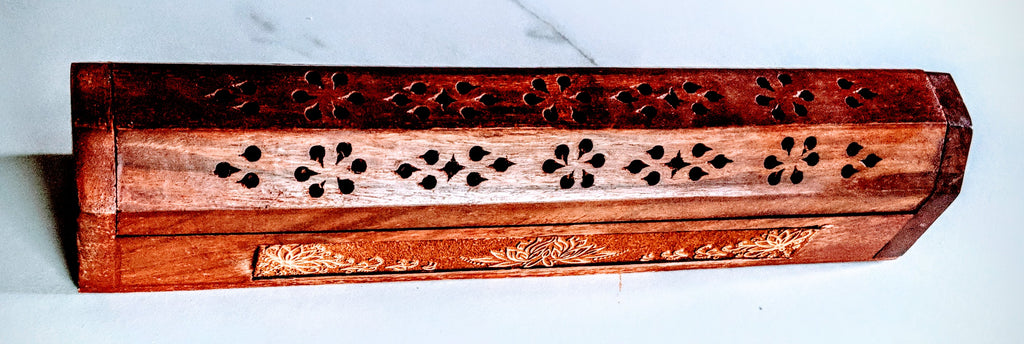 Wooden Carved Lotus Incense Stick and Cone Holder