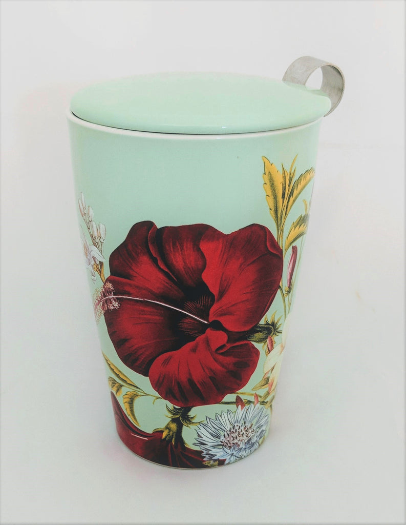 Red Flower & Peach  Steeping Cup and Infuser