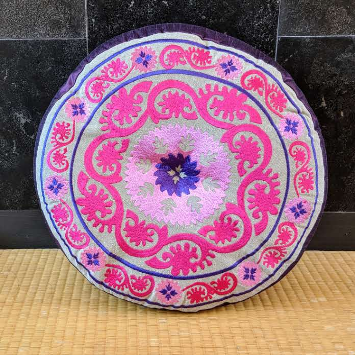 Pink & Purple Embroidered Cushion (Wide)