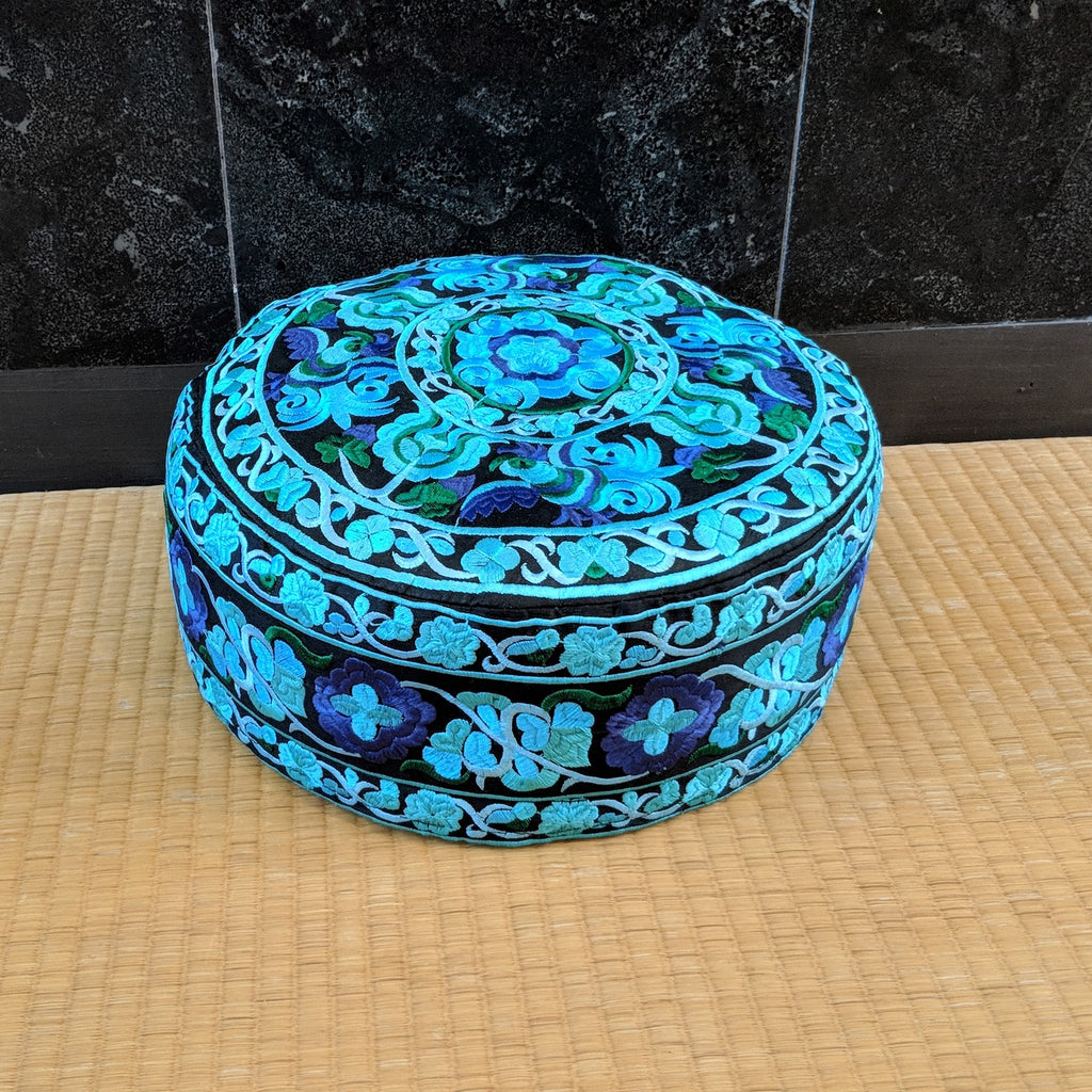 Turquoise Embroidered Meditation Cushion
