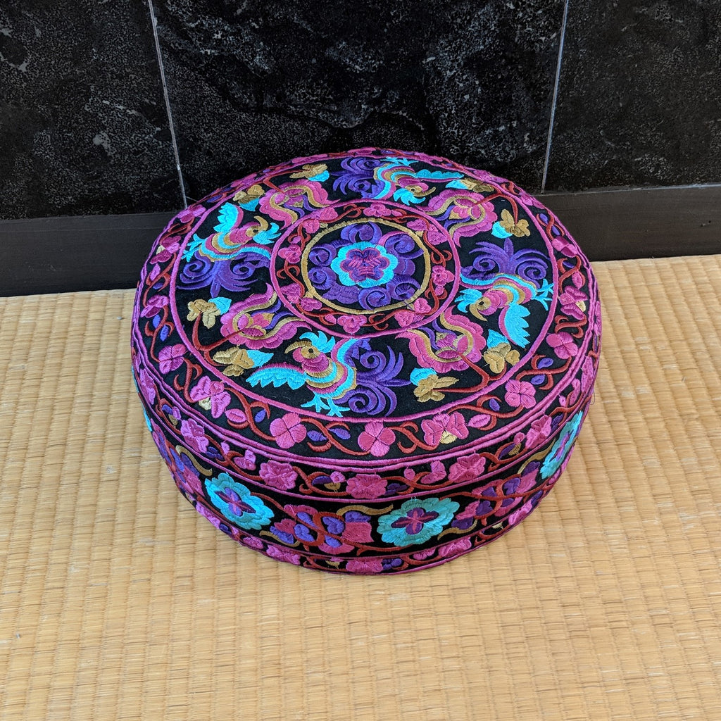Fuschia Embroidered Meditation Cushion