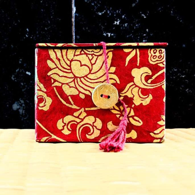 "3"" Meditation Bowl in Red & Gold Lotus Carrying Case"