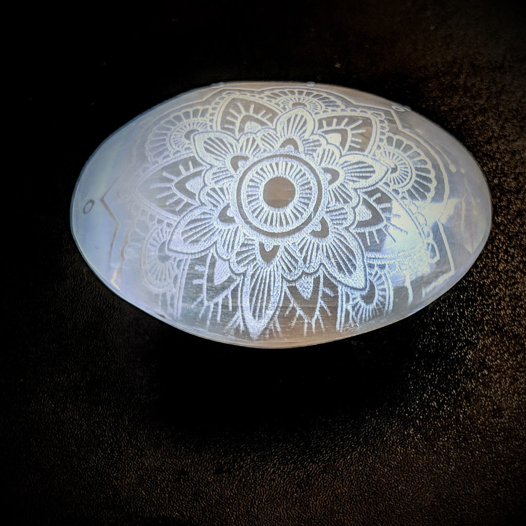 Selenite Palm Stone- Mandala
