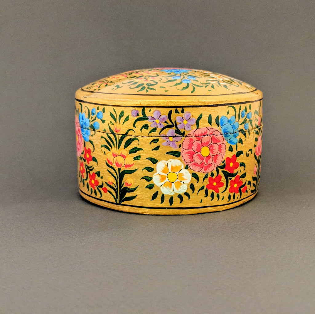 Hand-Painted Medium Circular Gold Flower Box