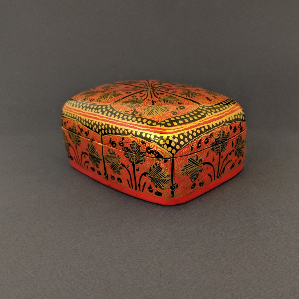 Hand-Painted Red & Gold Arabesque Rectangular Box