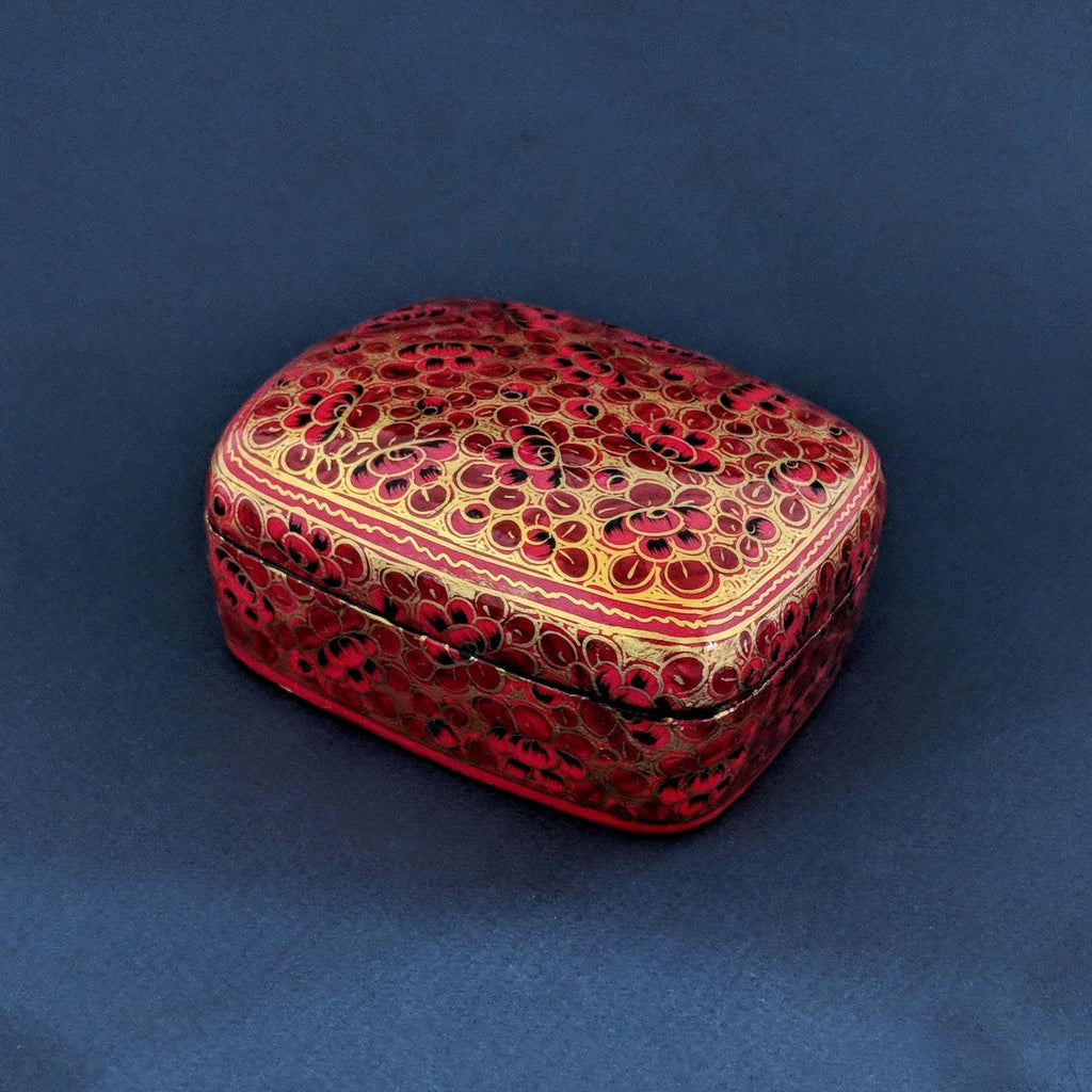 Hand-Painted Medium Red & Gold Box