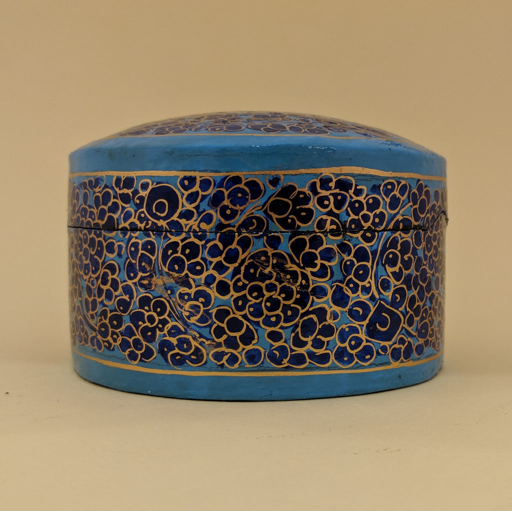 Hand-Painted Medium Circular Blue Flower Box