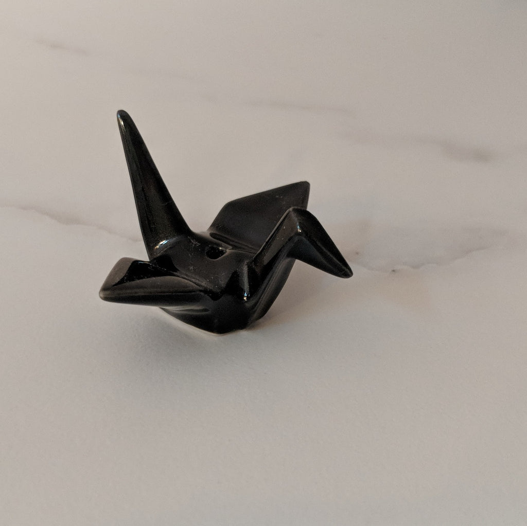 Black Crane Origami Ceramic Incense Holder