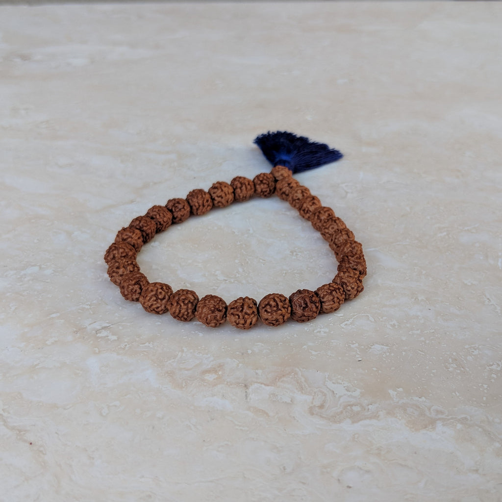 Rudraksha Bracelet with Blue Tassel