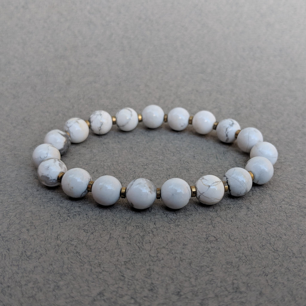 Howlite Gemstone Bracelet with Spacers