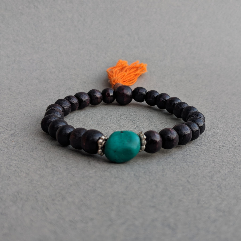 Dark Brown Rosewood Mala Bracelet with Turquoise