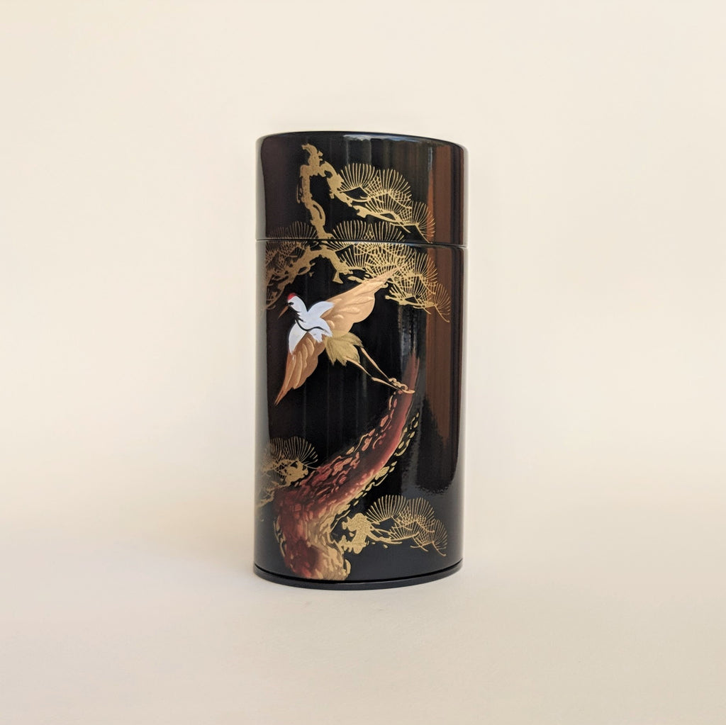 Gold Crane Tea Canister