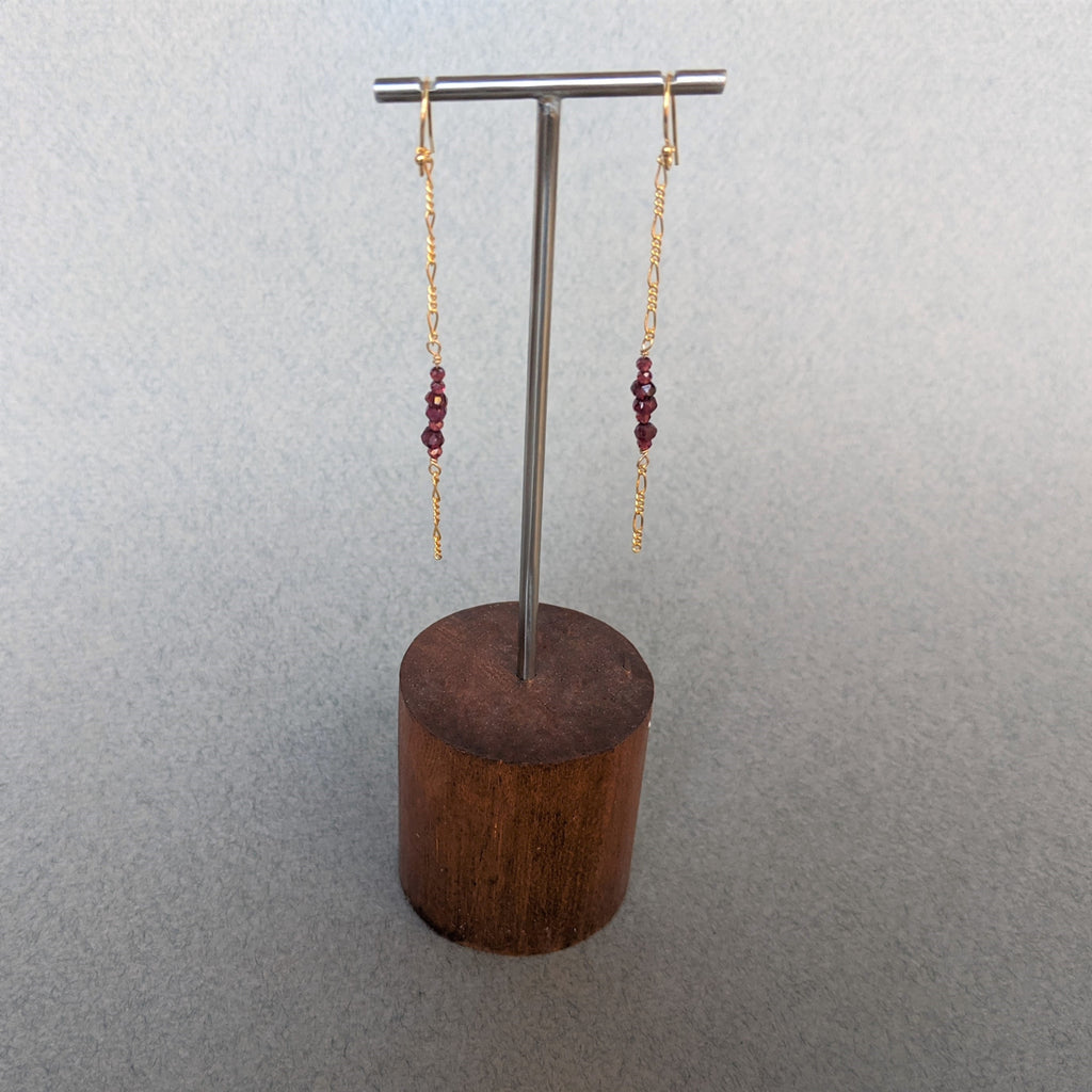 Garnet earrings & Lariat necklace Set