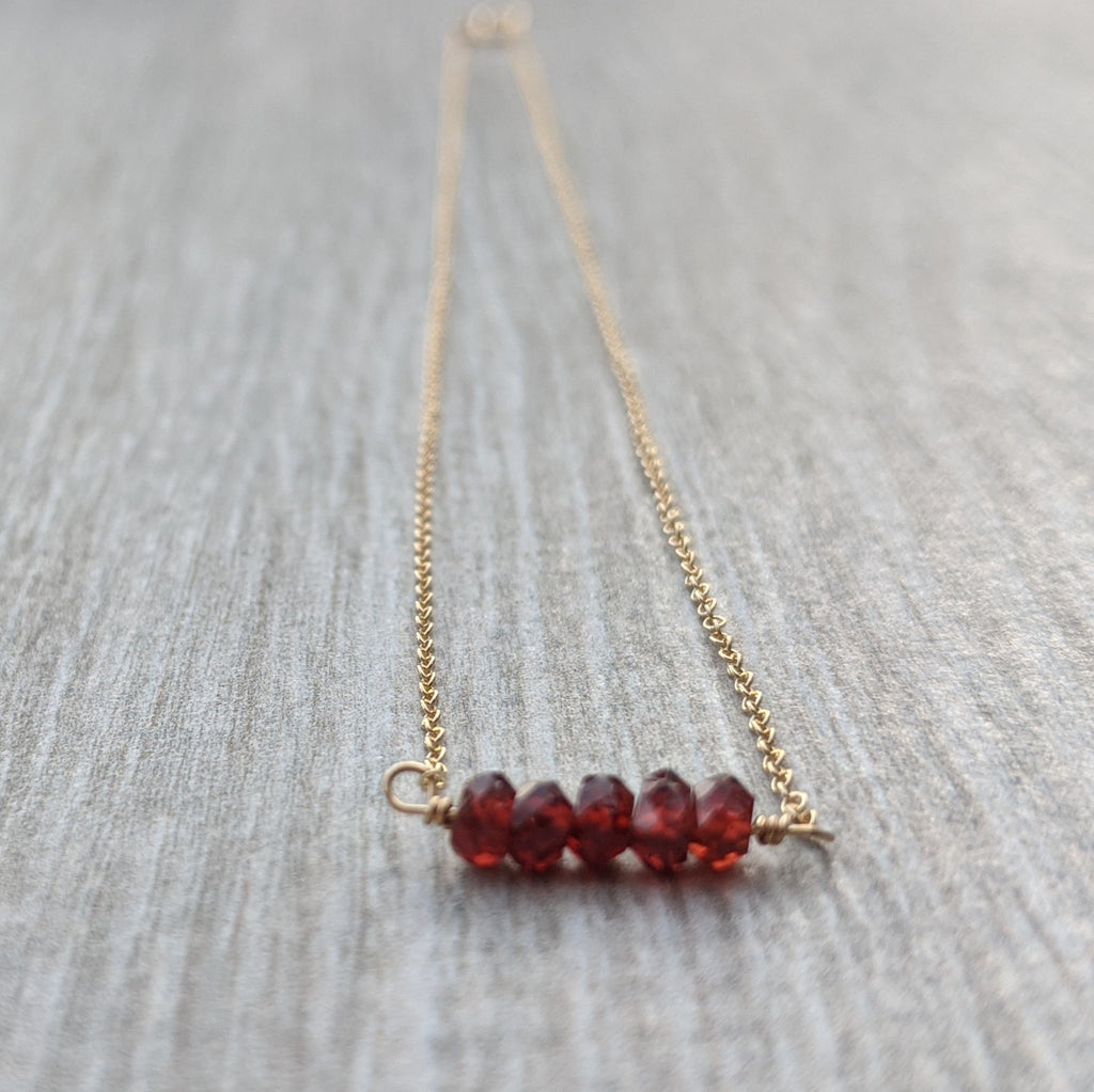 Garnet Mini Bar Necklace