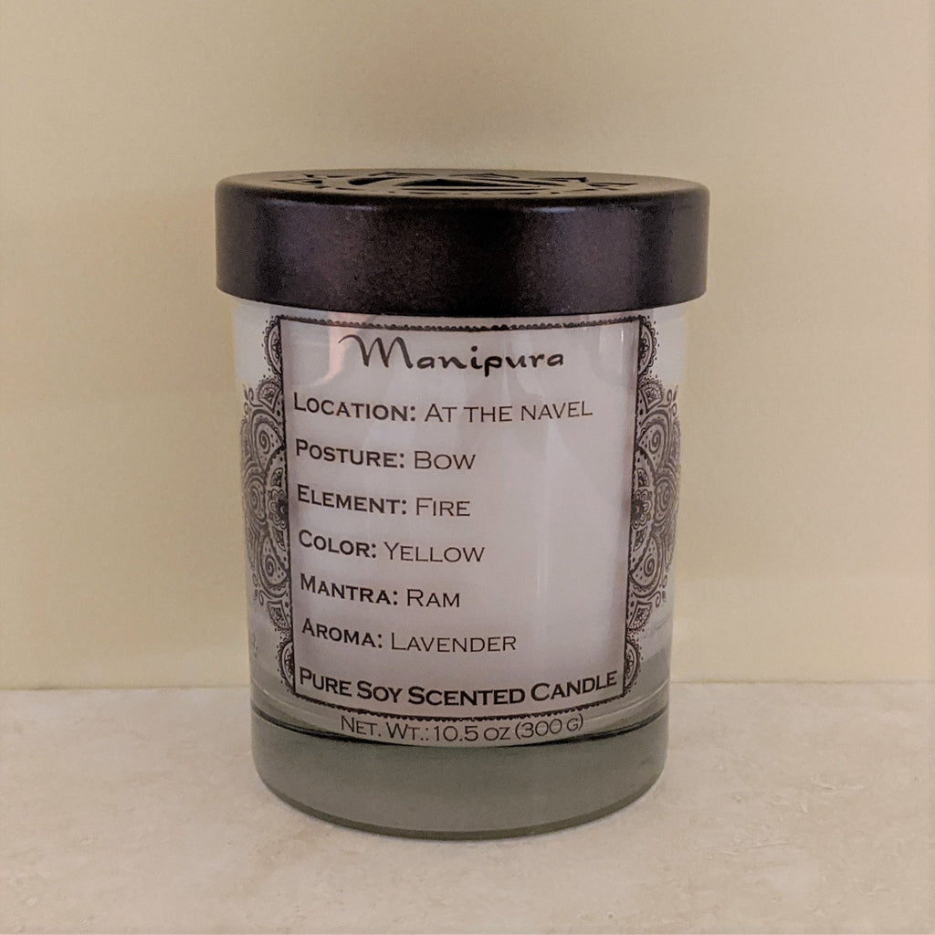Soy Candle for Chakra Meditation Scented with Essential Oils | Solar Plexus Chakra Manipura | Lavender Blossom | Power and Self-confidence - 10.5oz