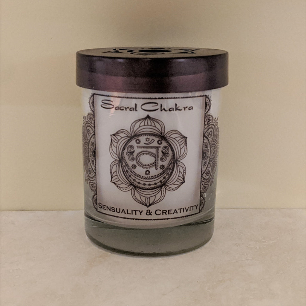 Soy Candle for Chakra Meditation Scented with Essential Oils | Sacral Chakra Svadhishthana | Vanilla | Sensuality and Creativity - 10.5oz