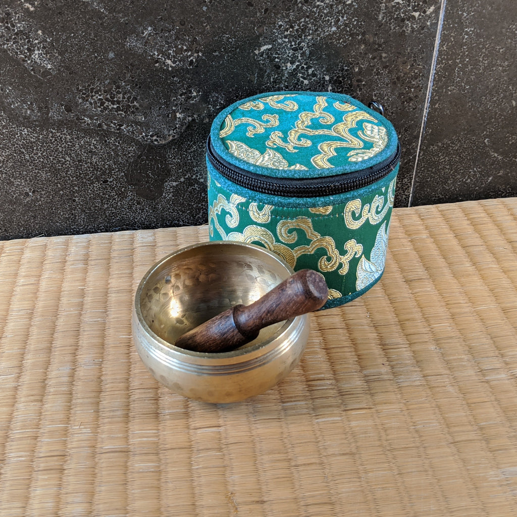"3"" Singing Bowl with Green Brocade Case"
