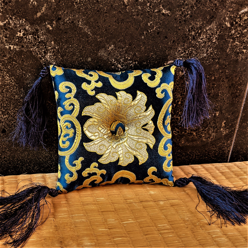 Blue Brocade Singing Bowl Pillow Cushion