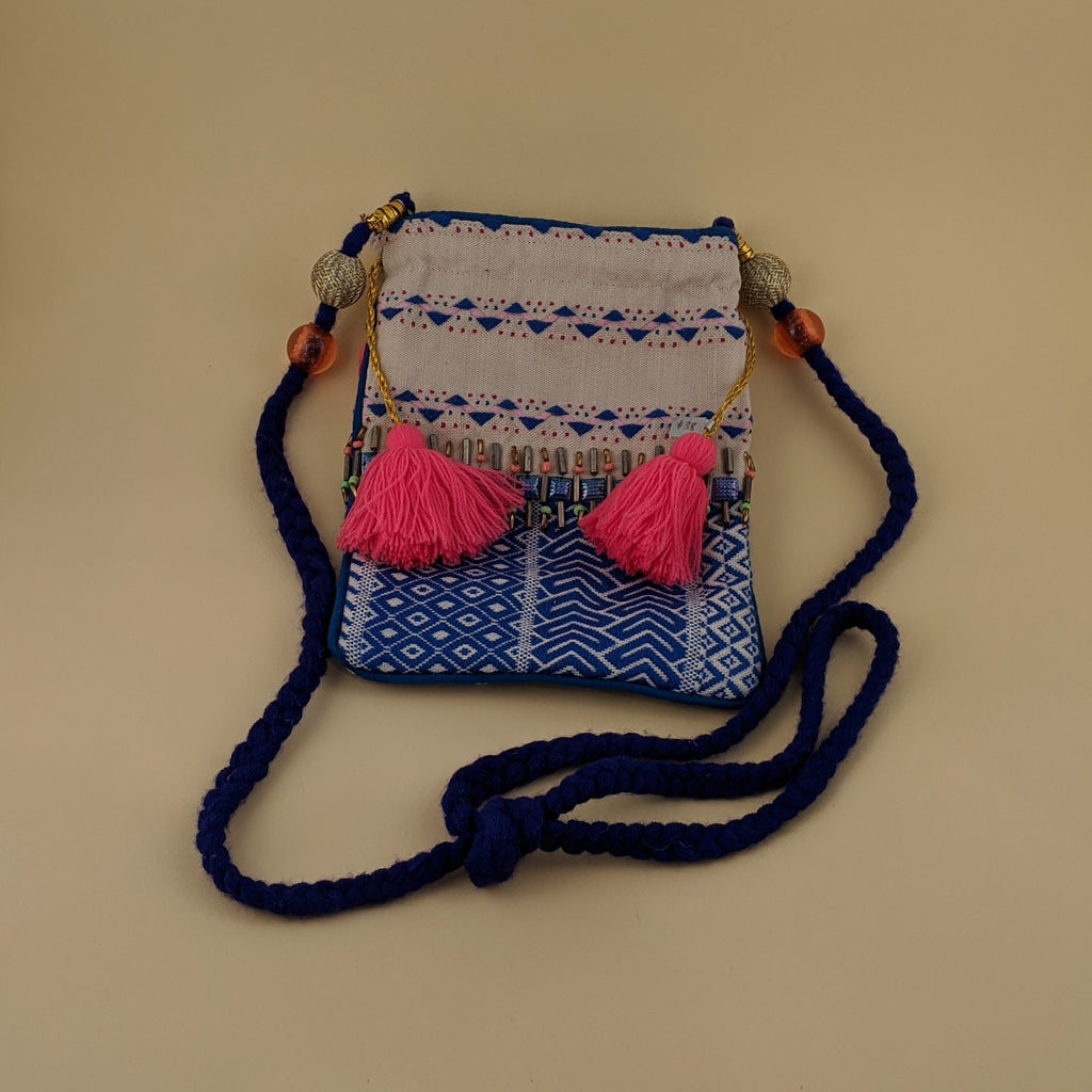 Small Tote Purse with Pink Tassels