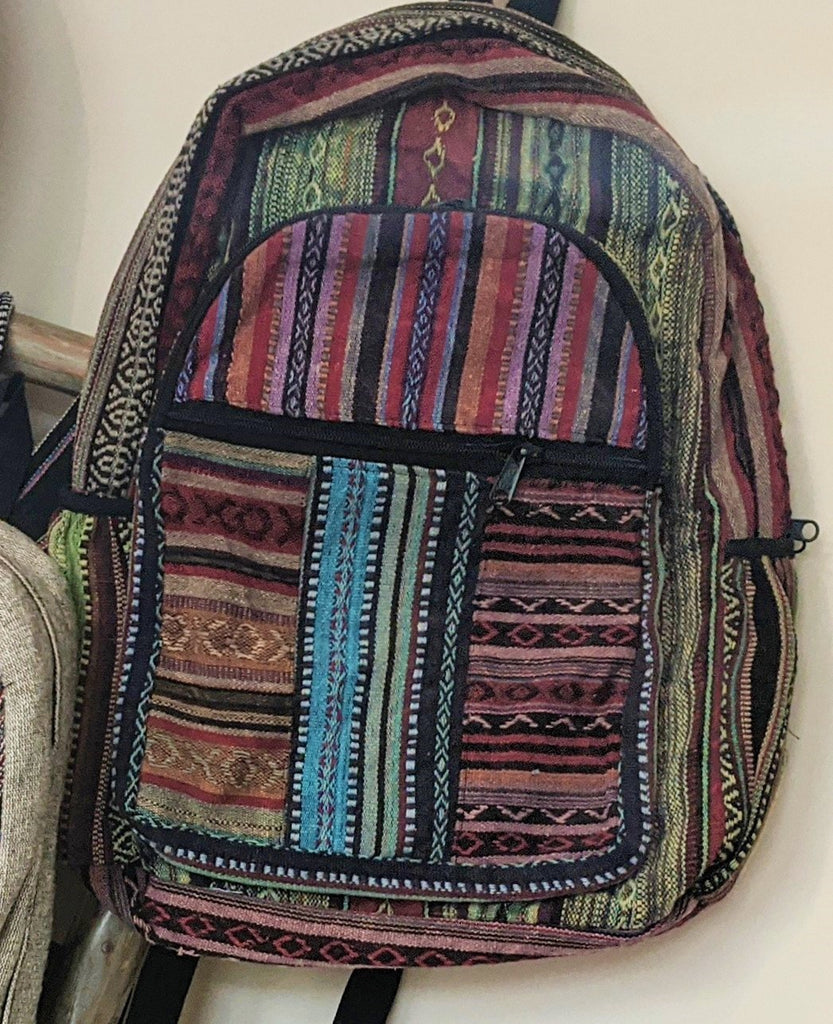 Mulit-Colored Cotton Backpack (w/large exterior double pocket)