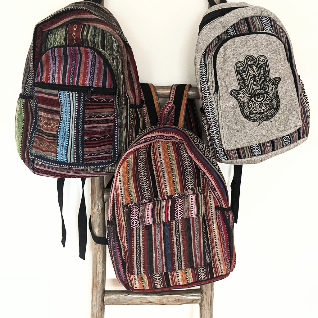 Mulit-Colored Cotton Backpack (w/medium exterior pocket)