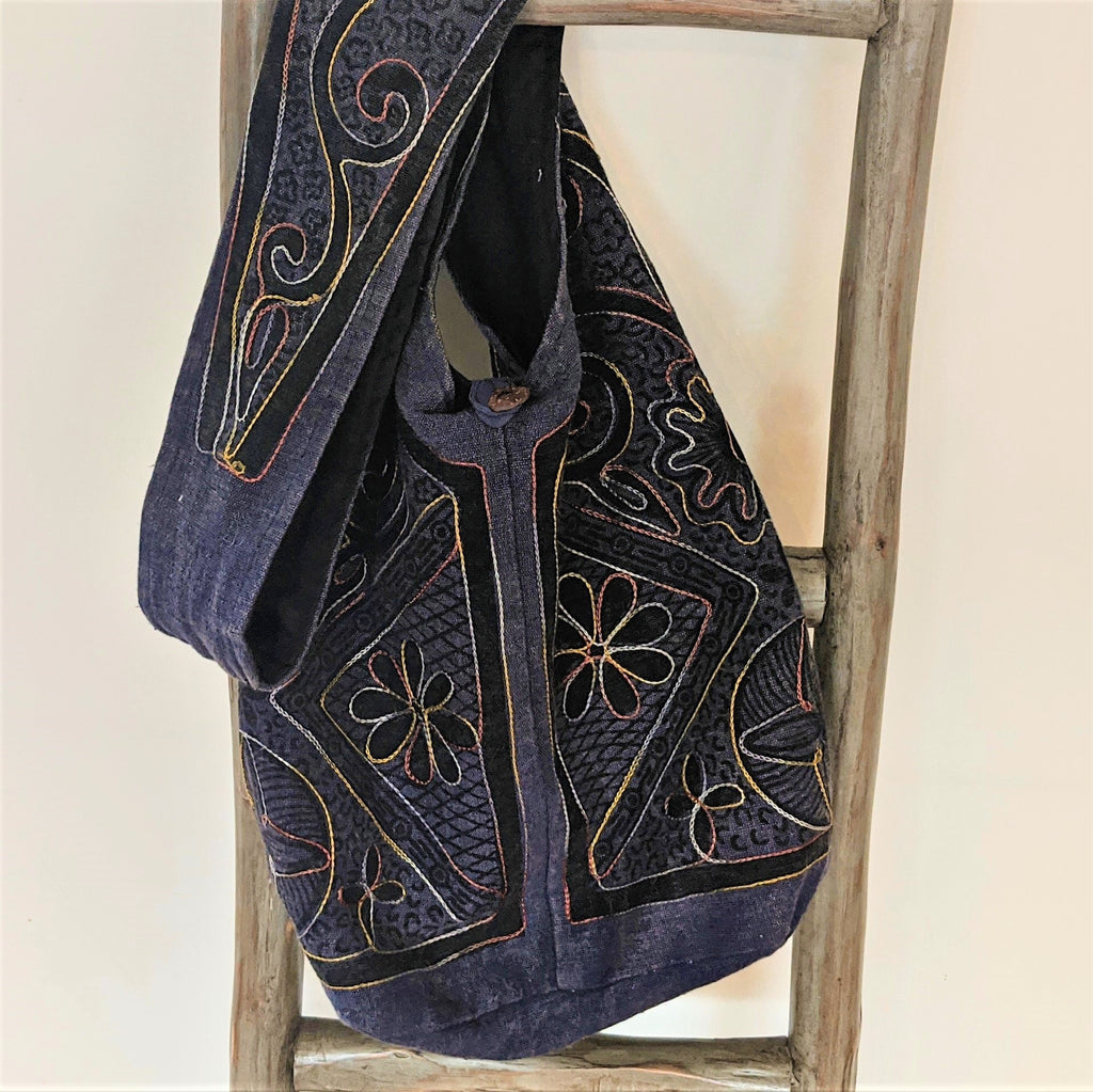 Indigo Embroidered Crossover Tote Purse
