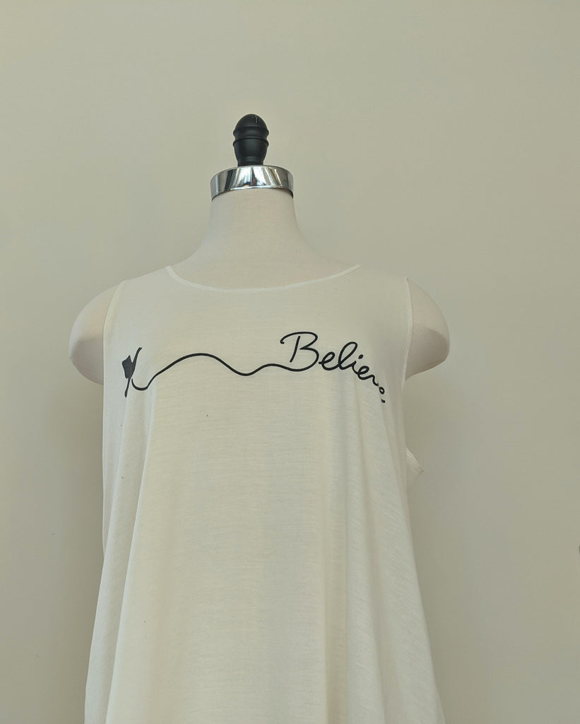 """Believe""  White Sleeveless Top"