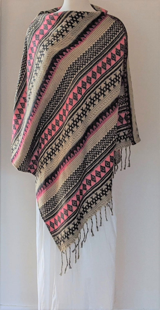 Fold over neck poncho with tassels