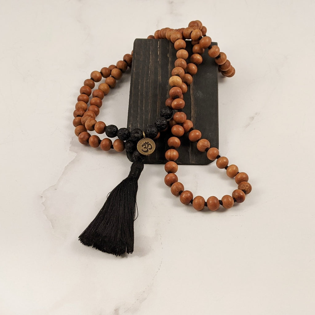 Sandalwood & Lava Mala Necklace