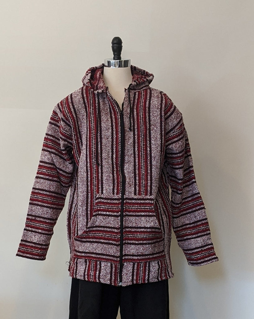 Baja Red/White Striped Zip Up Jacket - Size L