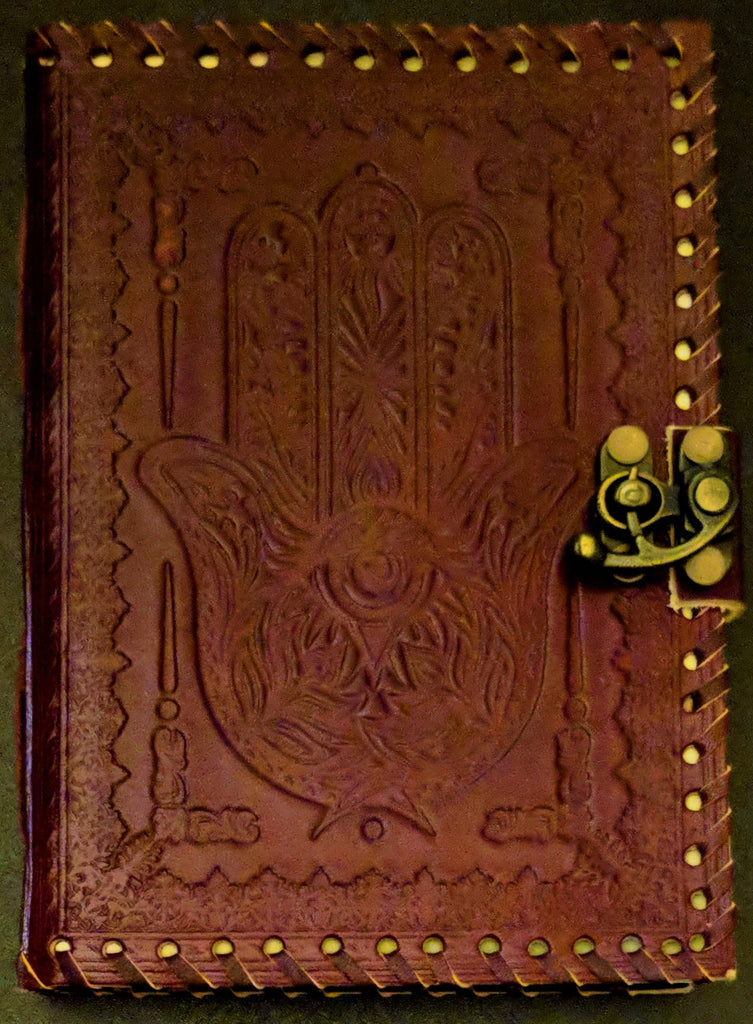 """Hand of Fatima""  Leather Journal"