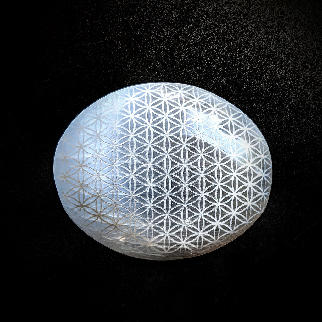 Selenite Palm Star- Flower of Life