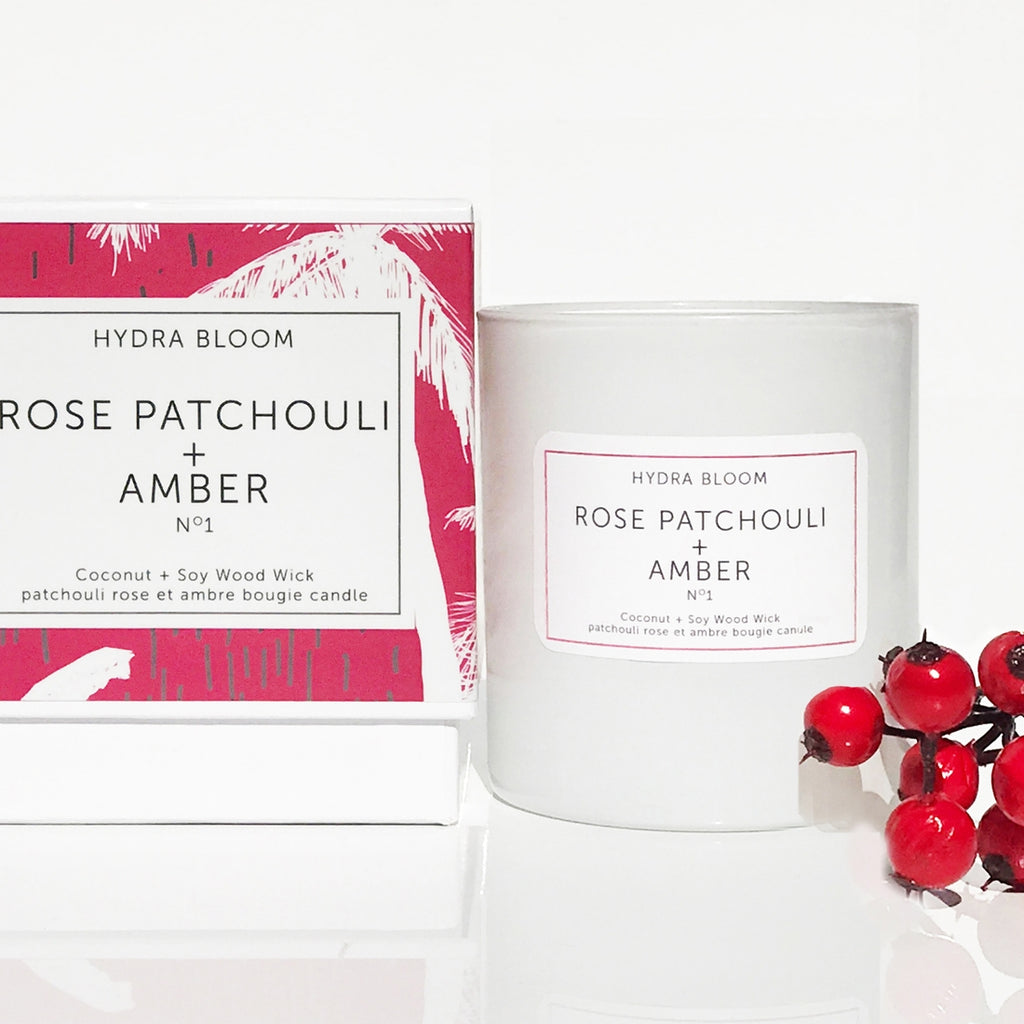 ROSE PATCHOULI + AMBER    N°1   -  Wood Wick COCONUT & SOY