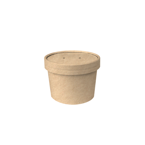 CCF 10OZ Soup Paper Container + Vented Lid Combo - Kraft