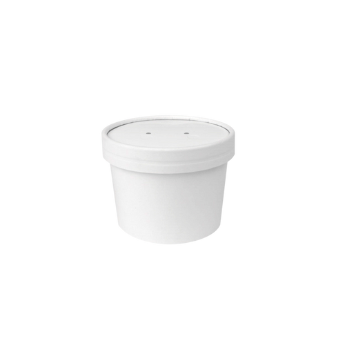 CCF 10OZ Soup Paper Container + Vented Lid Combo - White