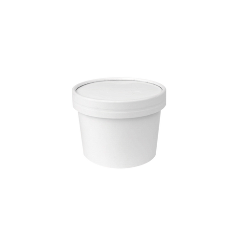 CCF 10OZ Ice Cream Paper Container + Non-Vented Lid Combo - White 250 Sets/Case